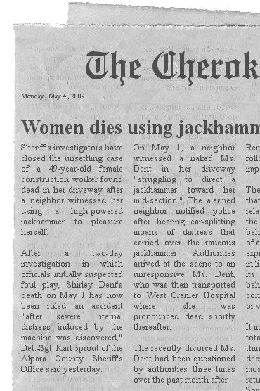 Kvinde dør Brug Jackhammer Som Dildo Anstændigt Fællesskab-5905